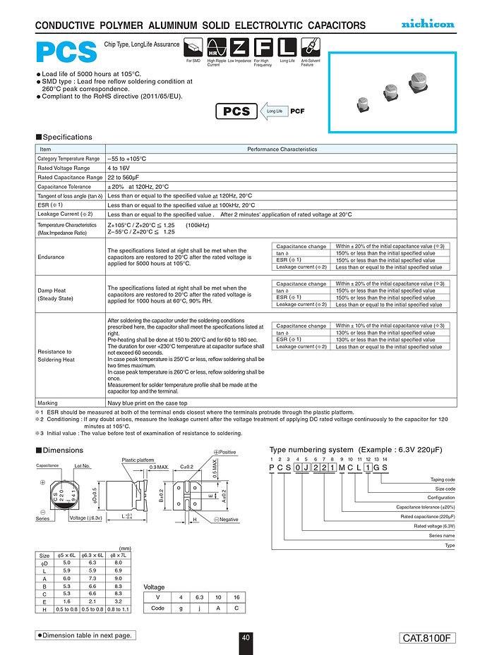 Nichicon PCS Series Aluminum Polymer Capacitors