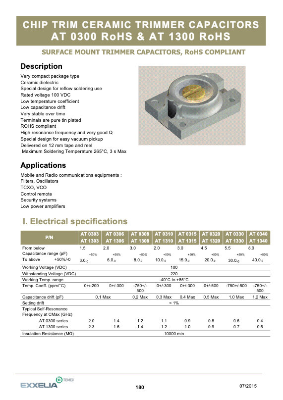 Exxelia Chip Trimmer Capacitors