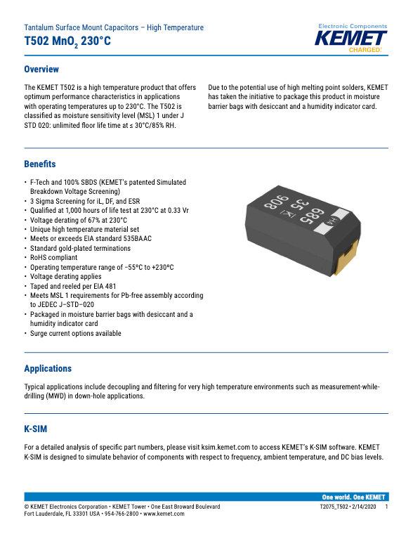 KEMET T502 Series Tantalum Capacitors