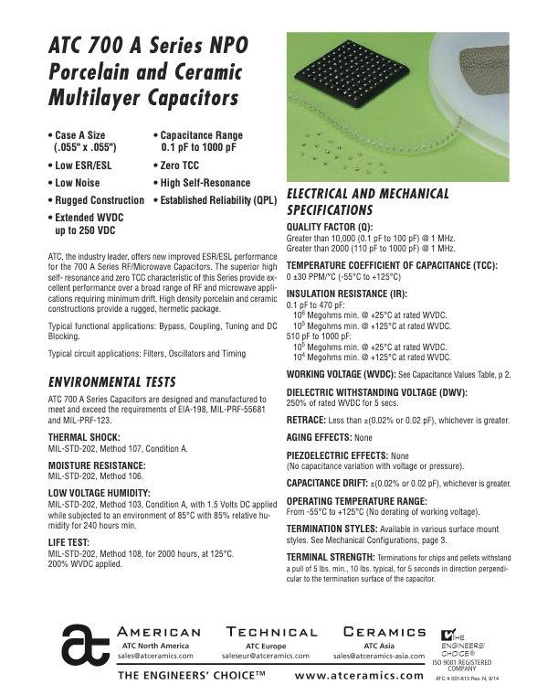 ATC 700A Series Porcelain And Ceramic Chip Capacitors