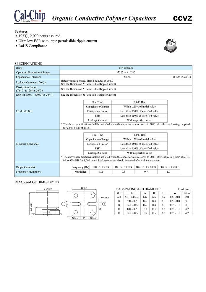 Cal Chip CCVZ Series SMT Aluminum Polymer Capacitors