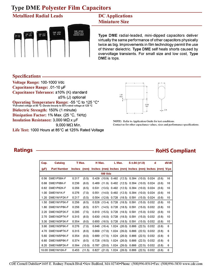 CDE Type DME Plastic Film Capacitors