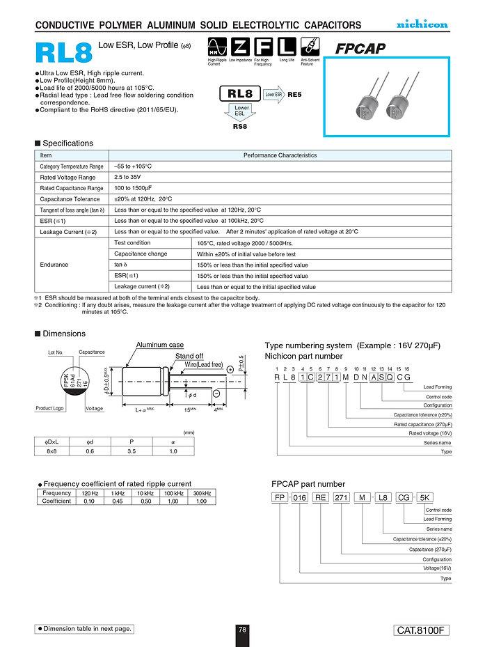 Nichicon RL8 Series Aluminum Polymer Capacitors