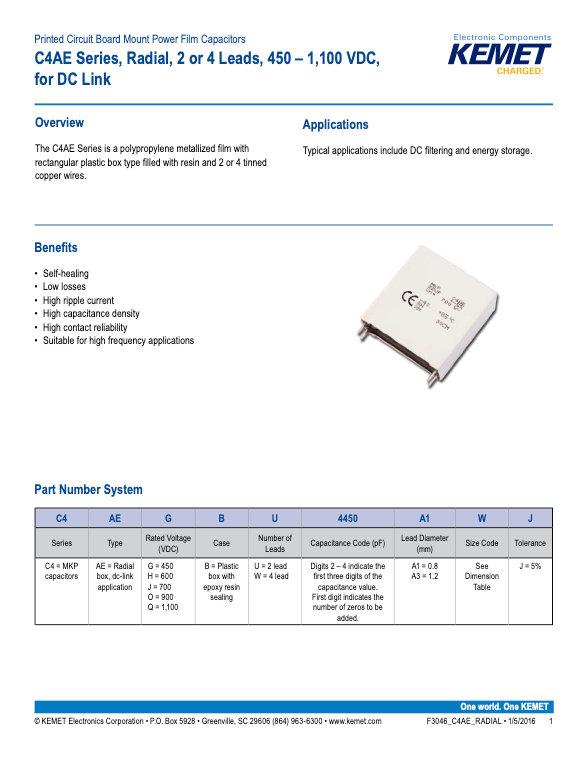 KEMET C4AE Series Plastic Film Capacitors
