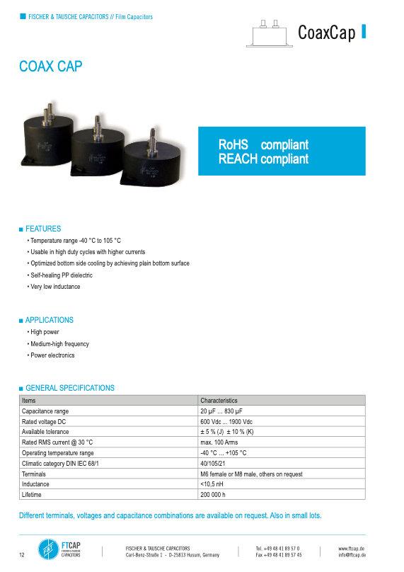 Fischer & Tausche CX Series Film Capacitors