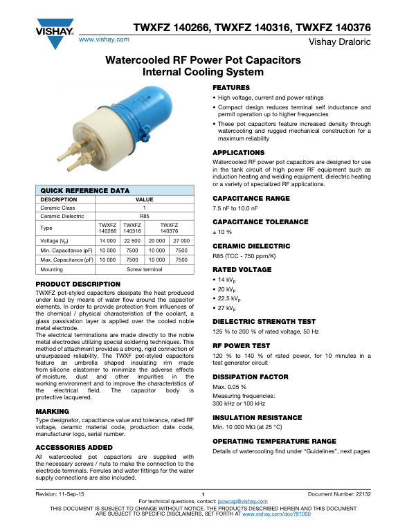 Vishay TWXFZ 140... Series RF Ceramic Capacitors