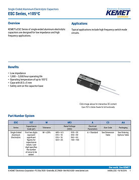 KEMET ESC Series Aluminum Electrolytic Capacitors