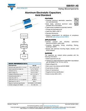 Vishay 030/031 AS Series Axial Aluminum Electrolytic Capacitors
