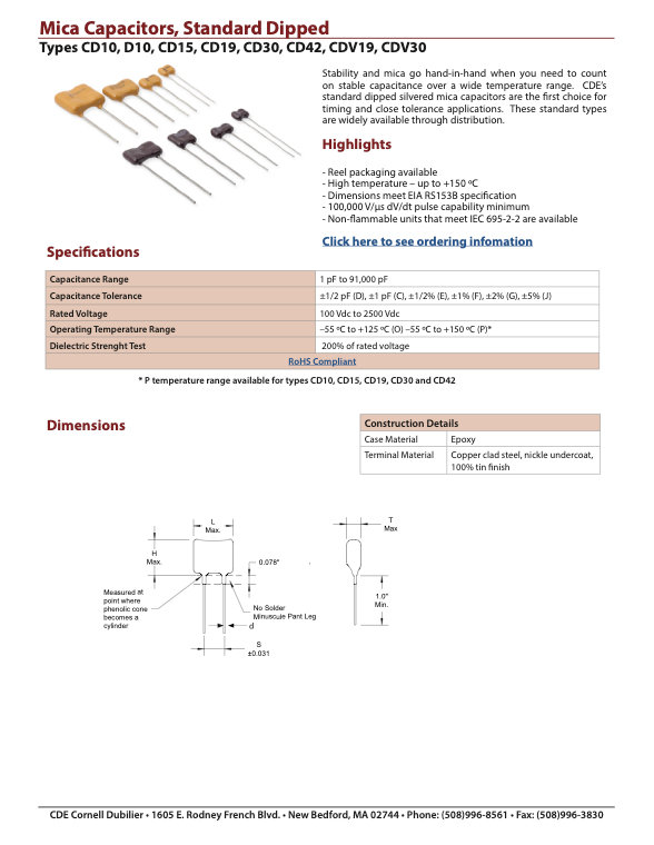 CDE Standard Dipped Silver Mica Capacitors