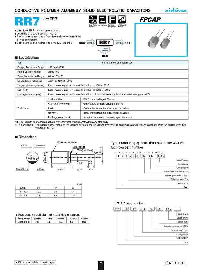Nichicon RR7 Series Aluminum Polymer Capacitors