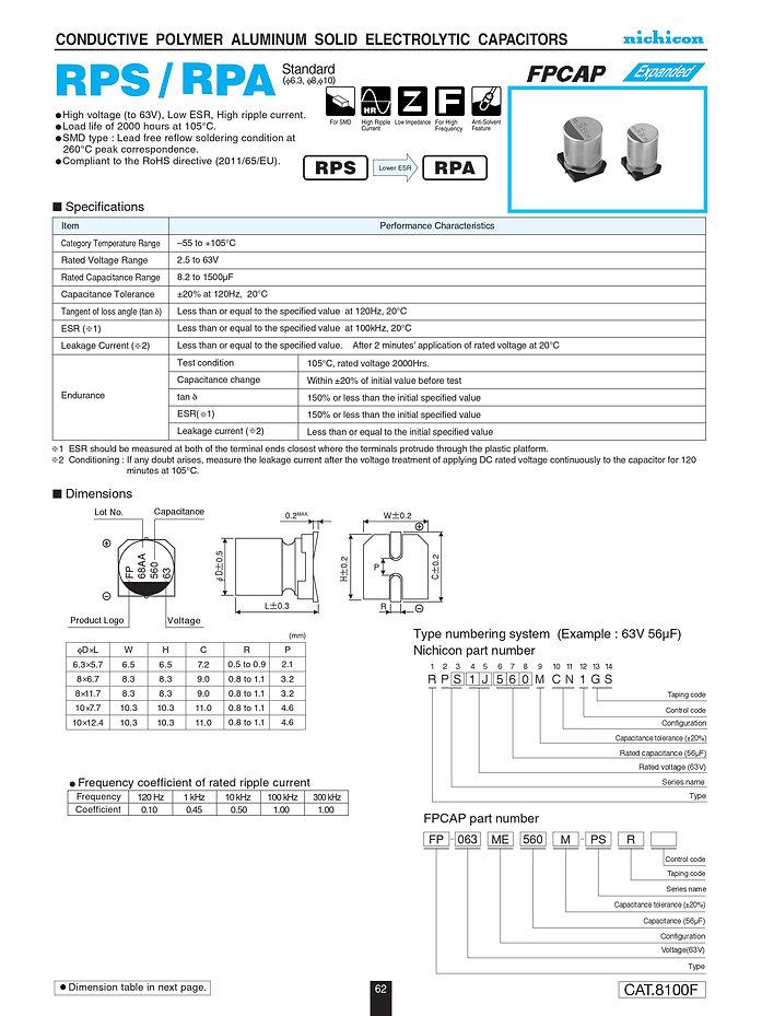 Nichicon RPS/RPA Series Aluminum Polymer Capacitors