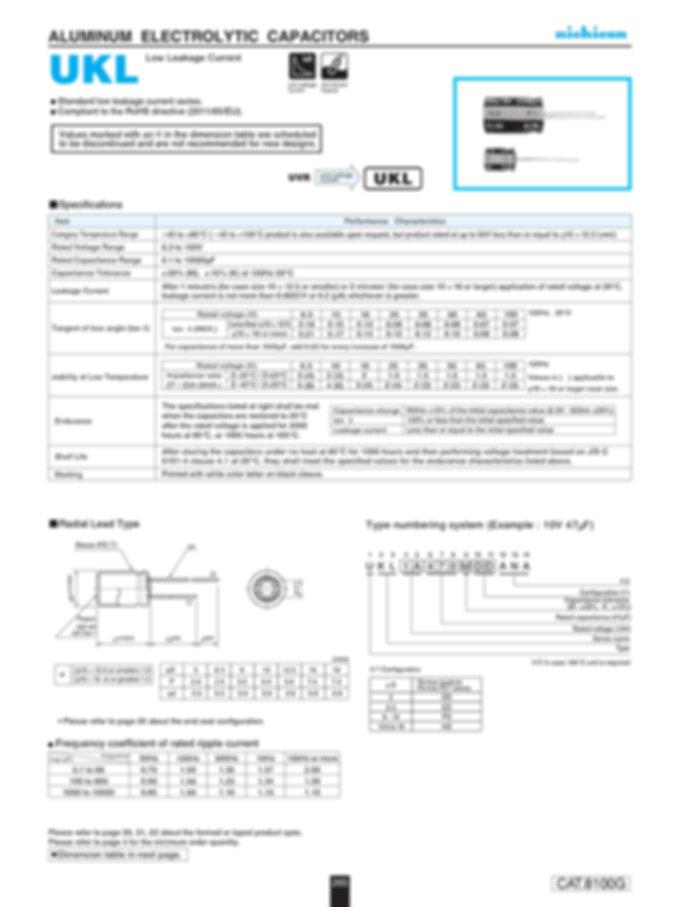 Nichicon UKL Series Aluminum Electrolytic Capacitors