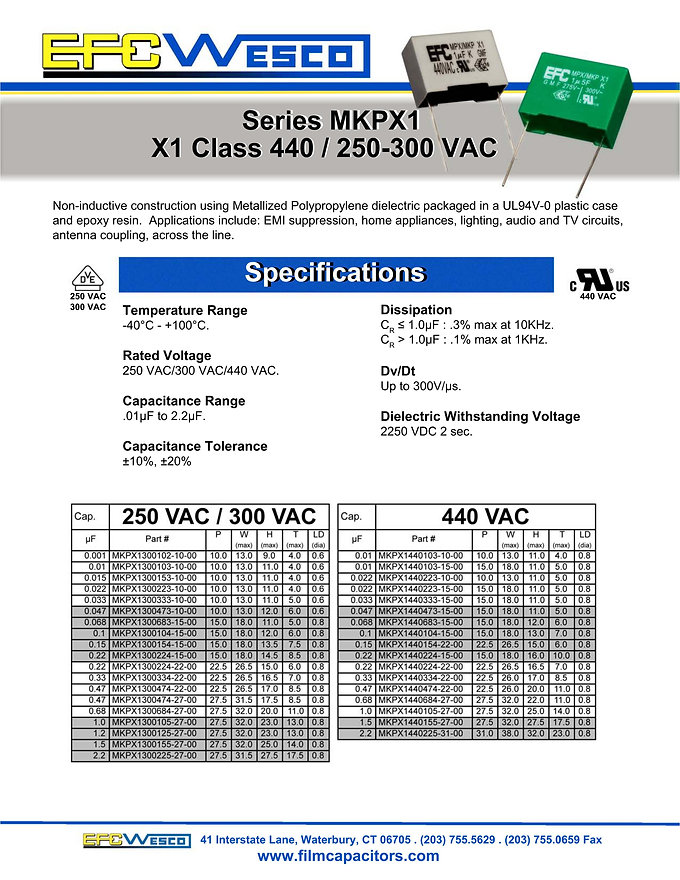 EFC Wesco Interference Suppression Capacitors