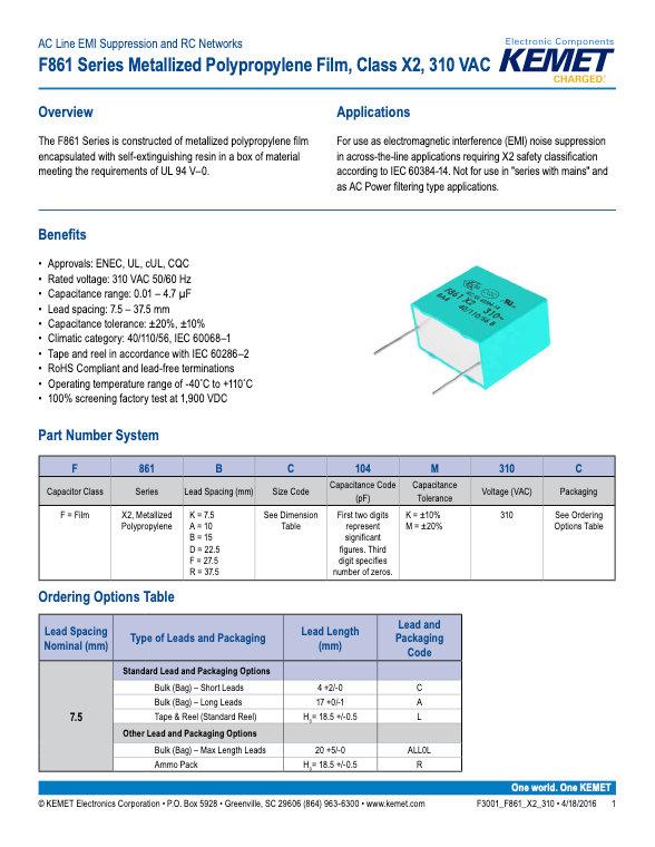 KEMET F861 Series Plastic Film Capacitors