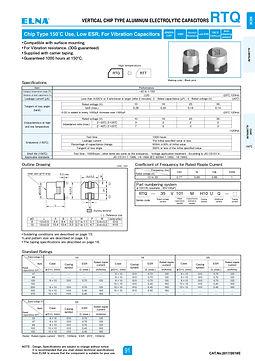 Elna RTQ Series Aluminum Electrolytic Capacitors