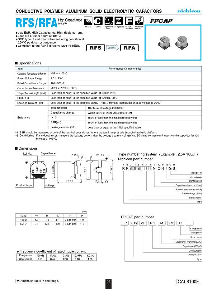 Nichicon RFS/RFA Series Aluminum Polymer Capacitors