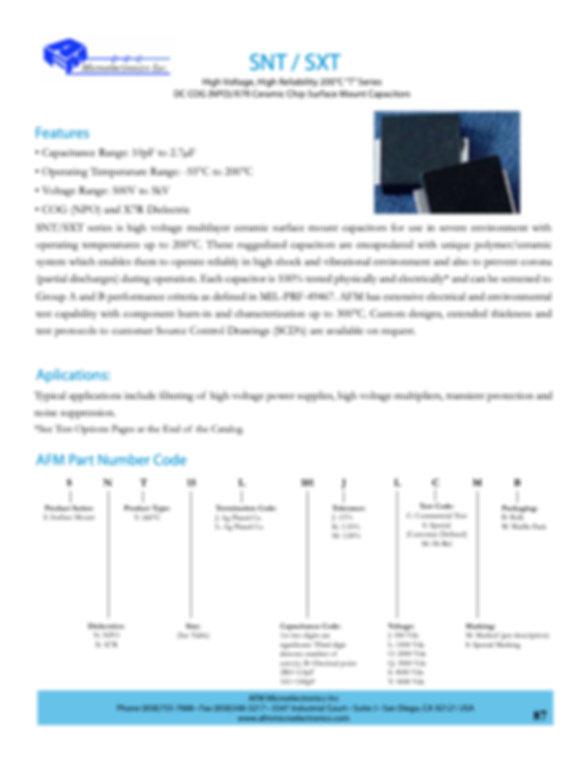 AFM Microelectronics SNT/SXT Series MLC Capacitors