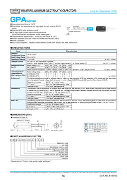 Nippon Chemi Con GPA Series Aluminum Electrolytic Capacitors