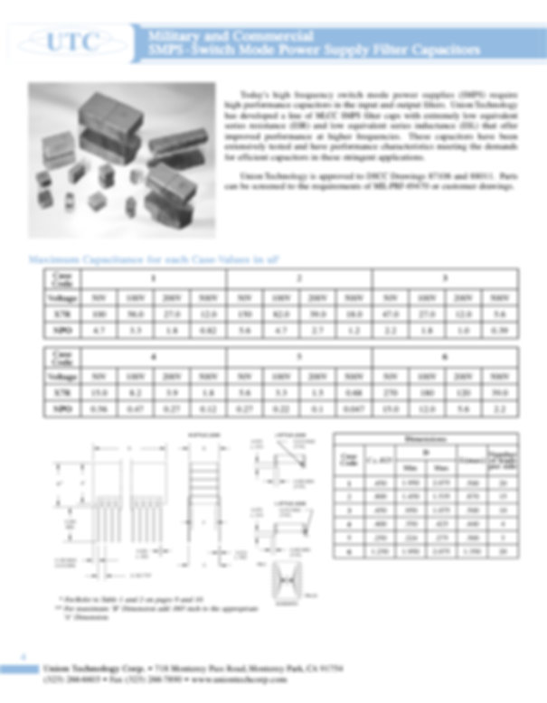 Union Technology SMPS Filter Capacitors