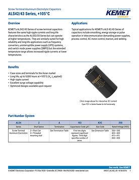 KEMET ALS42/43 Series Aluminum Electrolytic Capacitors