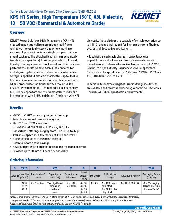 KEMET KPS High Temperature MLC Capacitors