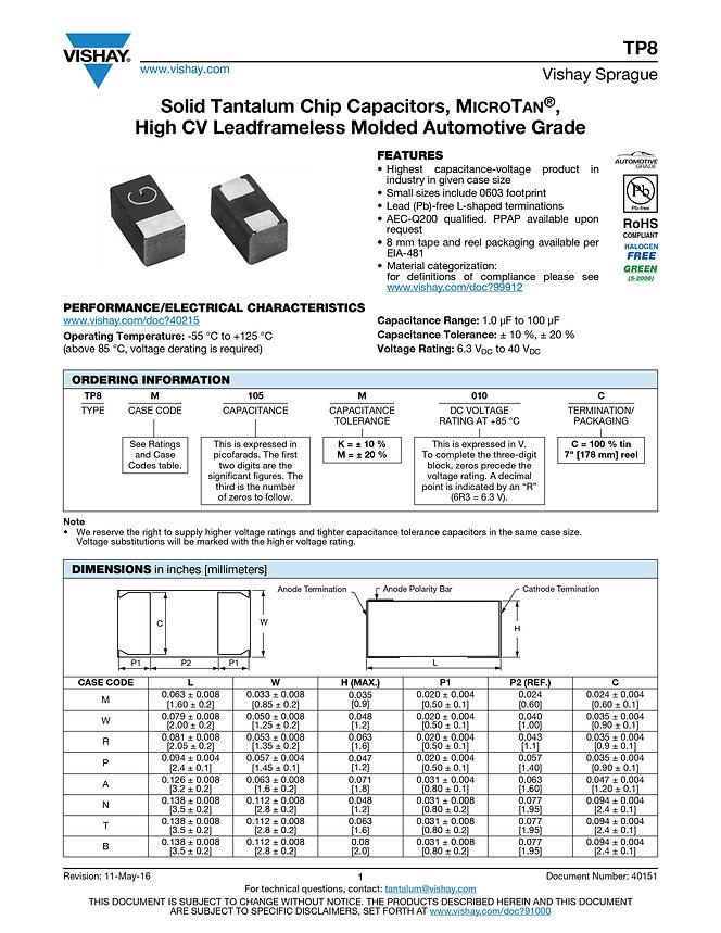 Vishay TP8 Series Tantalum Capacitors