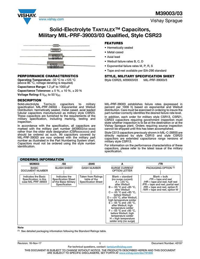 Vishay M39003/03 Series Tantalum Capacitors