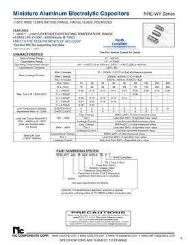 NIC Components NRE WY Series Aluminum Electrolytic Capacitors
