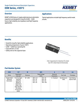 KEMET ESW Series Aluminum Electrolytic Capacitors