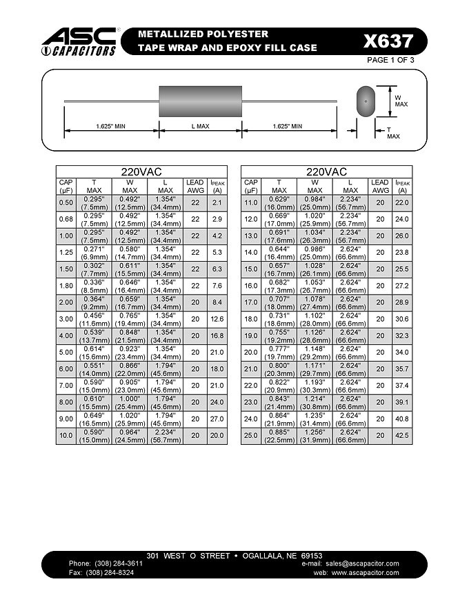 ASC X637 Series Film Capacitors