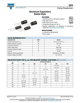 Vishay EKV Series Aluminum Capacitors