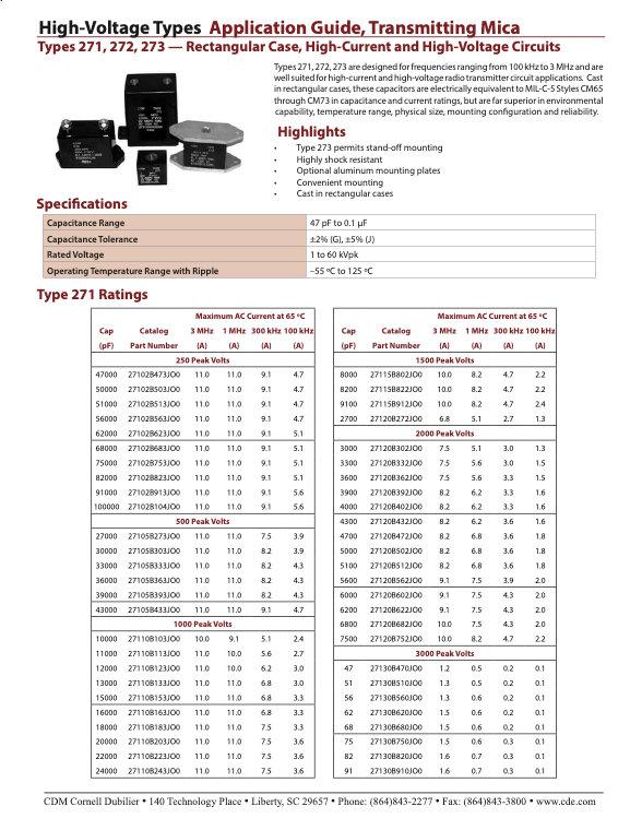 CDE High Voltage Rectangular Mica Capacitors