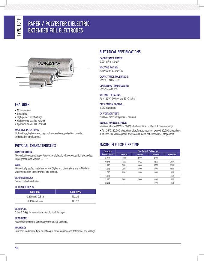 Dearborn 131P Series Plastic Film Capacitors