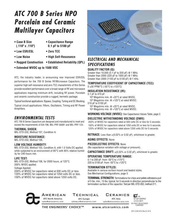ATC 700B Series Porcelain And Ceramic Chip Capacitors