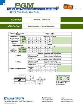 Illinois Capacitor PGM Series Radial Aluminum Electrolytic Capacitors