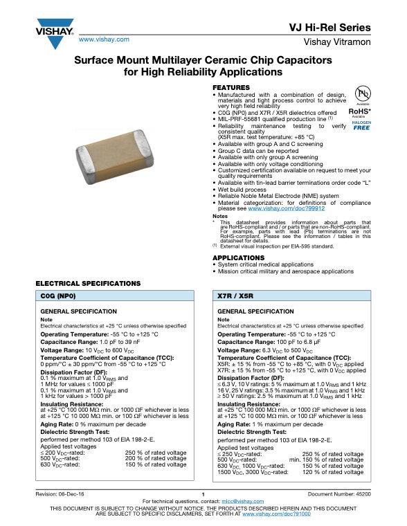 Vishay VJ Hi Rel Series MLC Capacitors