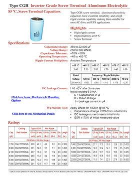 CDE Type CGH Aluminum Electrolytic Capacitors