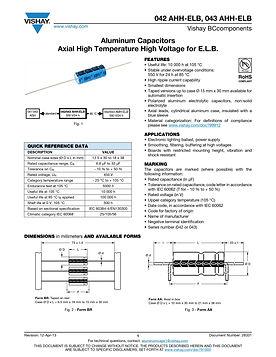 Vishay 04X AHH Series Axial Aluminum Electrolytic Capacitors