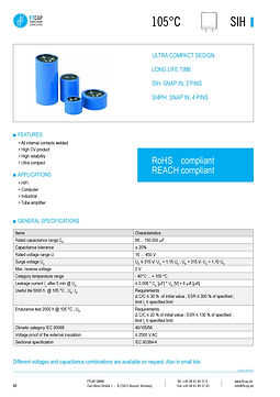 Fischer & Tausche SIH Series Aluminum Capacitors