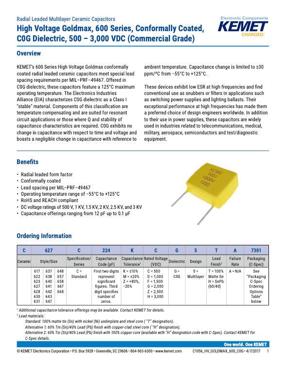 KEMET Goldmax 600 COG High Voltage Commercial Grade MLC Capacitors