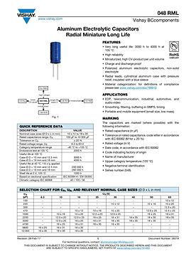 Vishay 048 RML Series Radial Aluminum Electrolytic Capacitors