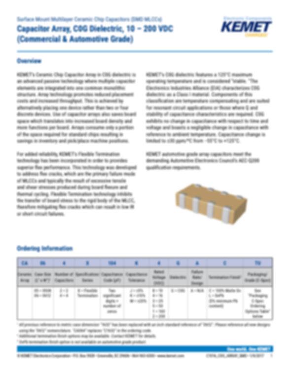 KEMET COG MLC Capacitor Arrays