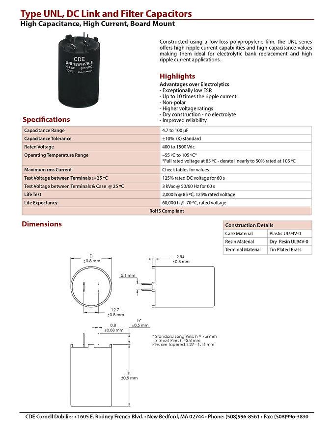 CDE Type UNL Plastic Film Capacitors