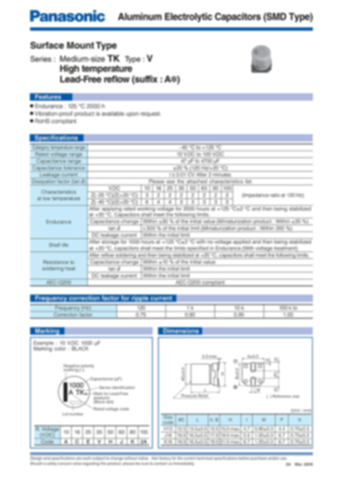 Panasonic TK Medium Size High Temp. Reflow Series Aluminum Capacitors