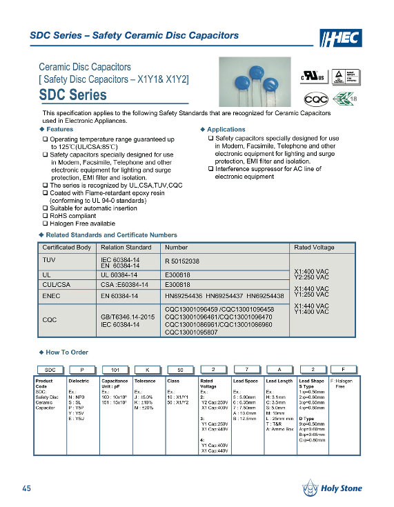 Holy Stone SDC Series Ceramic Disc Capacitors
