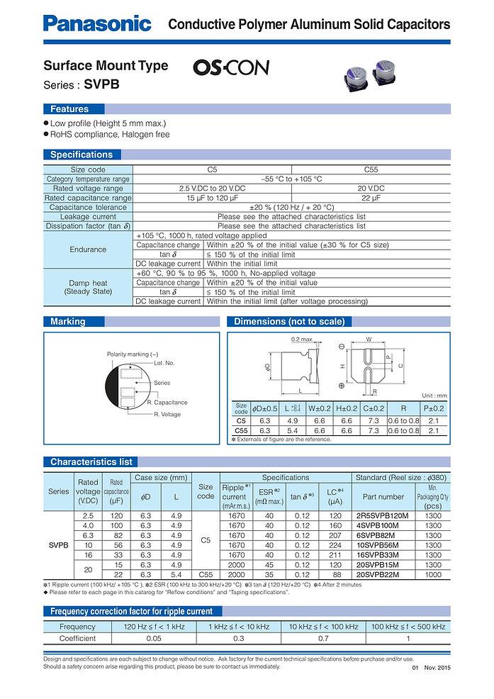 Panasonic SVPB Series Aluminum Polymer Capacitors