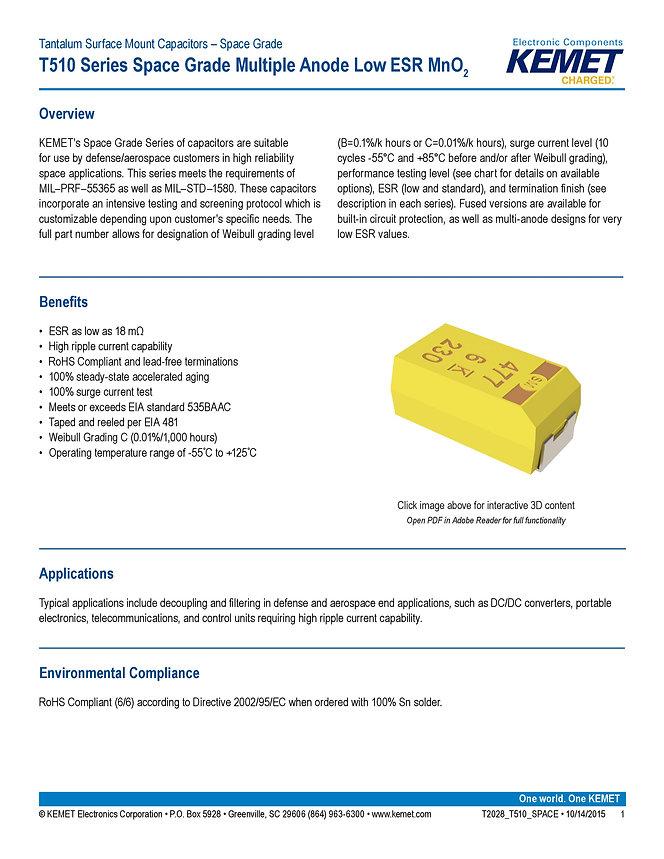 KEMET T510 Series Space Grade Tantalum Capacitors