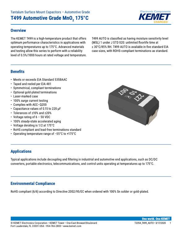 KEMET T499 Series Tantalum Capacitors