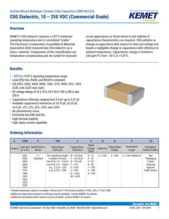 KEMET Commercial Grade SMT COG MLC Capacitors