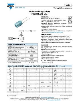 Vishay 116 RLL Series Radial Aluminum Electrolytic Capacitors